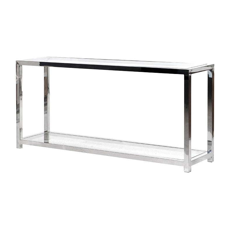 Chrome and Glass Slim Console table