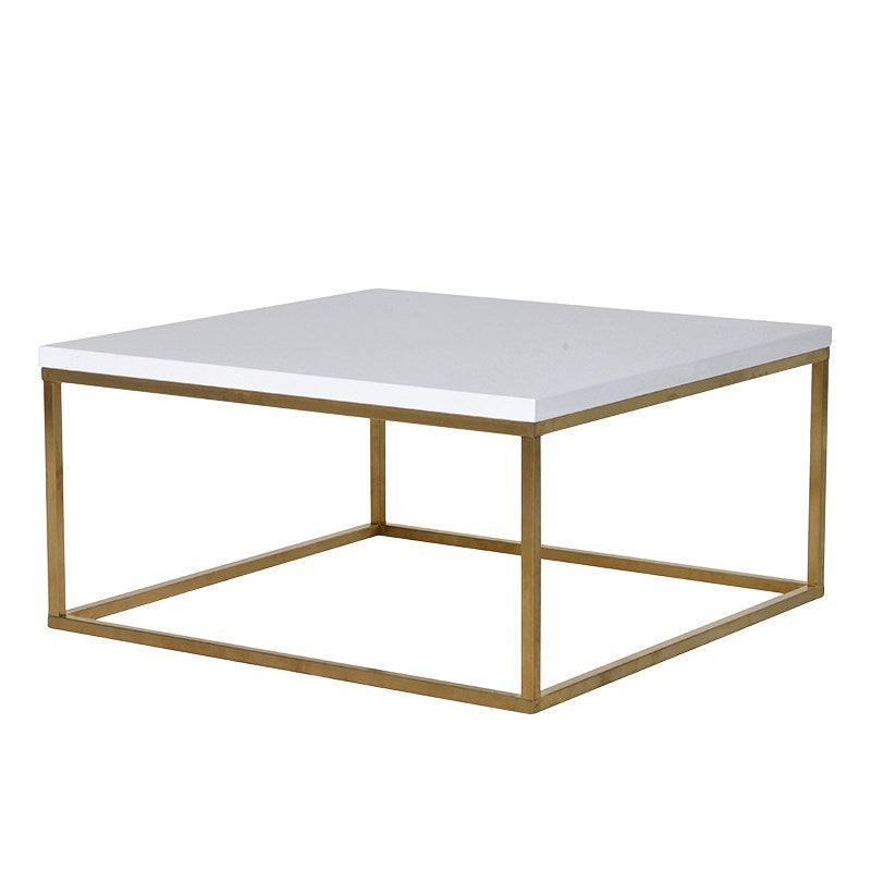 Gold and White Square Coffee Table