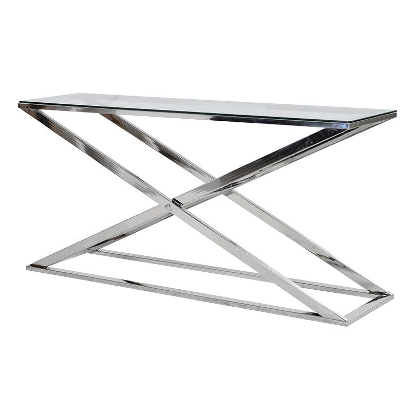 X Frame Console Table With Glass Top