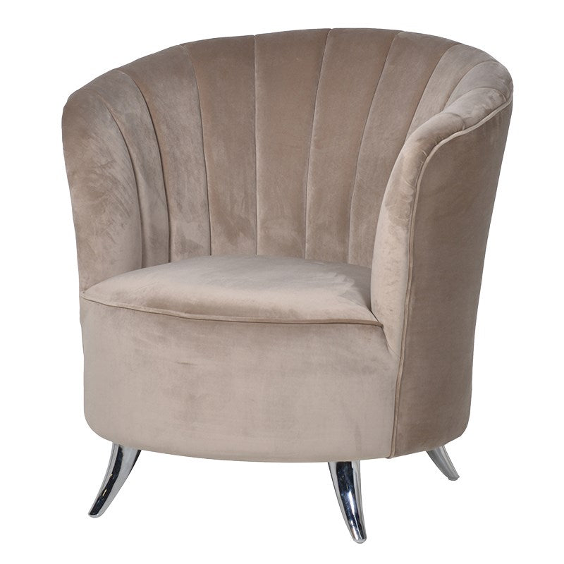 Carmen Velvet Club Chair With Silver Feet