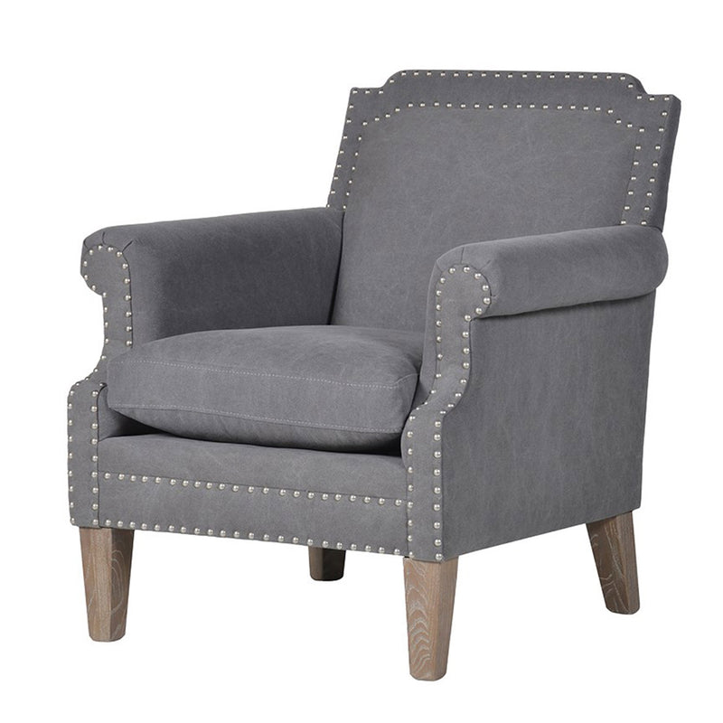 Grey Fabric Studded Armchair