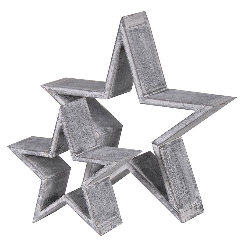 Set of Two Grey Star Ornaments