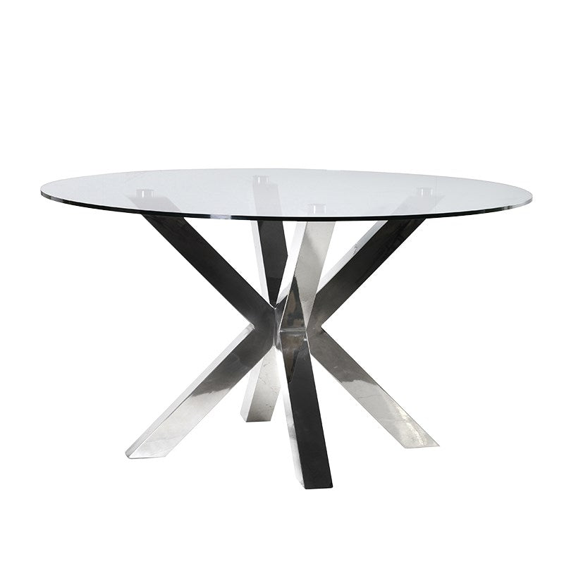 Steel and Glass Round Dining Table