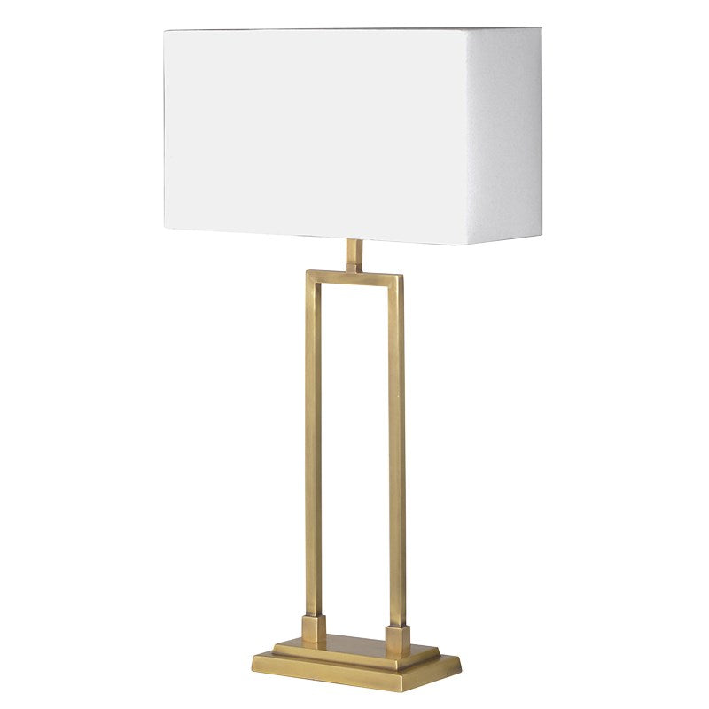 Gold Frame Table Lamp With White Shade