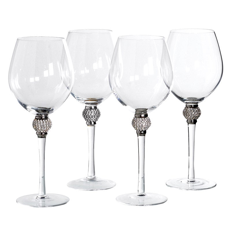 Set Of 4 Silver Crystal Red Wine Glasses