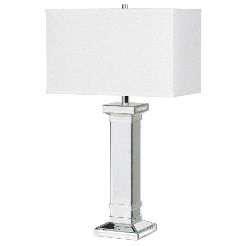 Mirrored Column Table Lamp With Shade