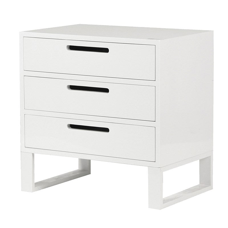 White High Gloss Bedside Table With 3 Drawers