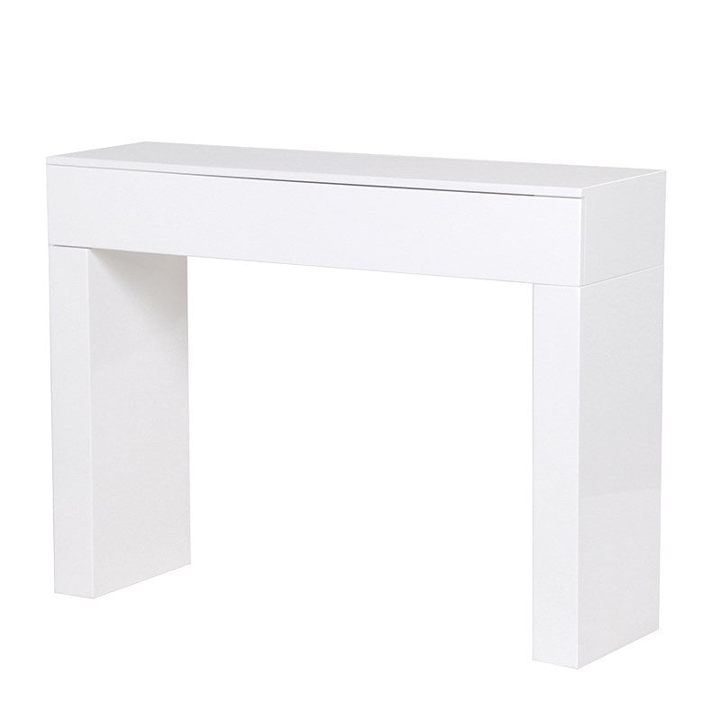 White High Gloss Hall Table With Drawer