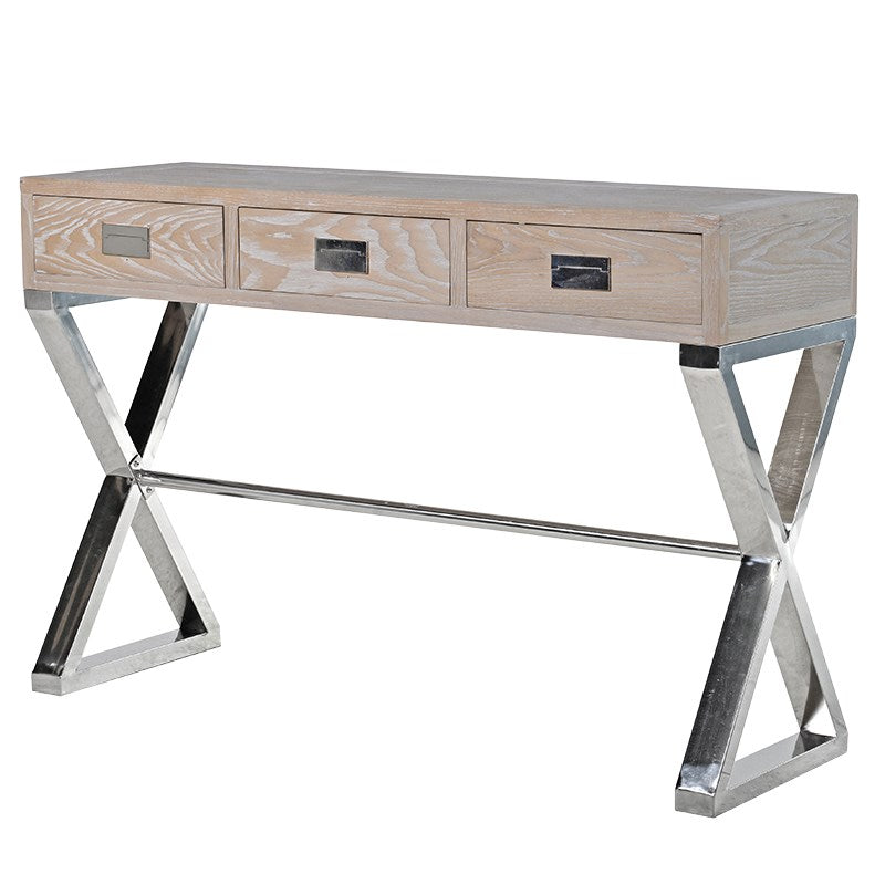 Freya Light Wood Console Table With Chrome Legs