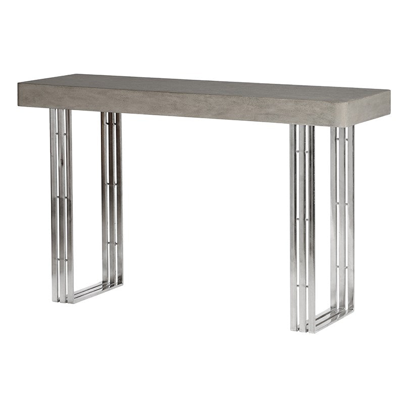 Concrete Console Table With Strip Steel Legs