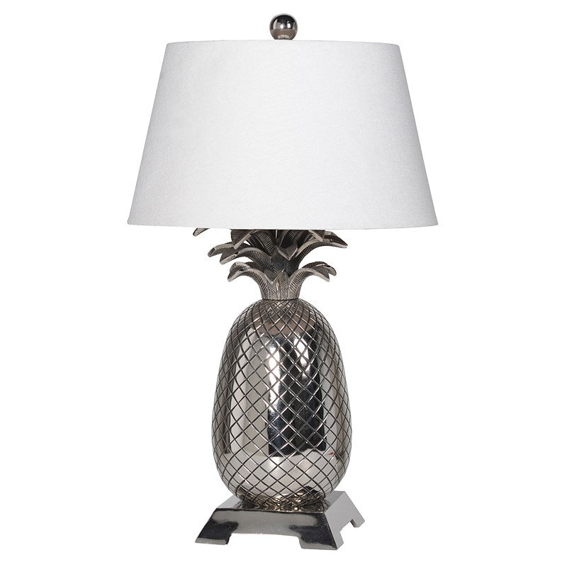 Chrome Pineapple Lamp With Shade