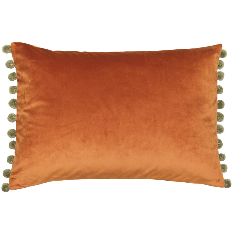 Orange and Khaki Pom Pom Cushion Cover