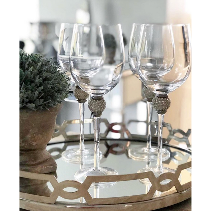 Silver Crystal White Wine Glasses