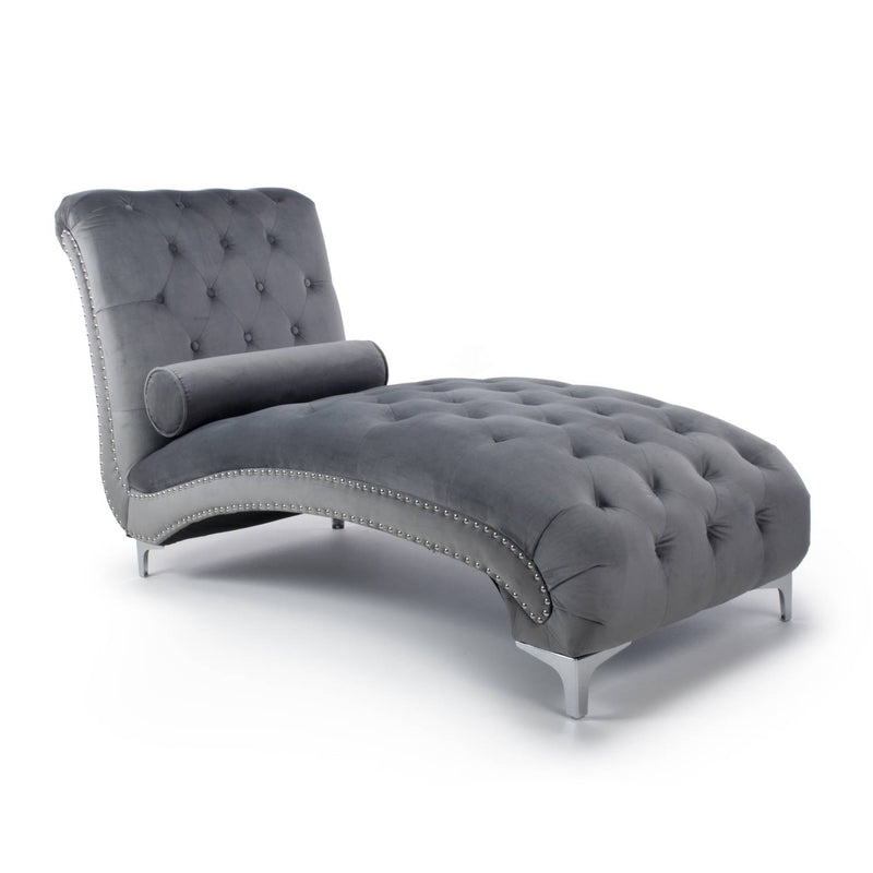 Falaise Buttoned Grey Chaise