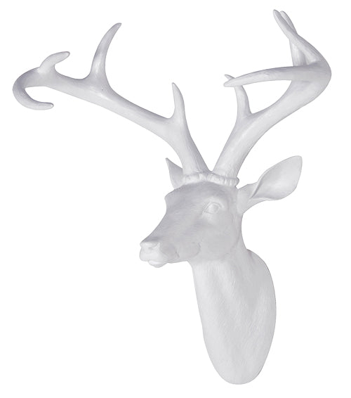 Large White Resin Stag Head