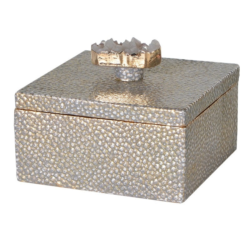 Gold Faux Shagreen Box With Agate Detail