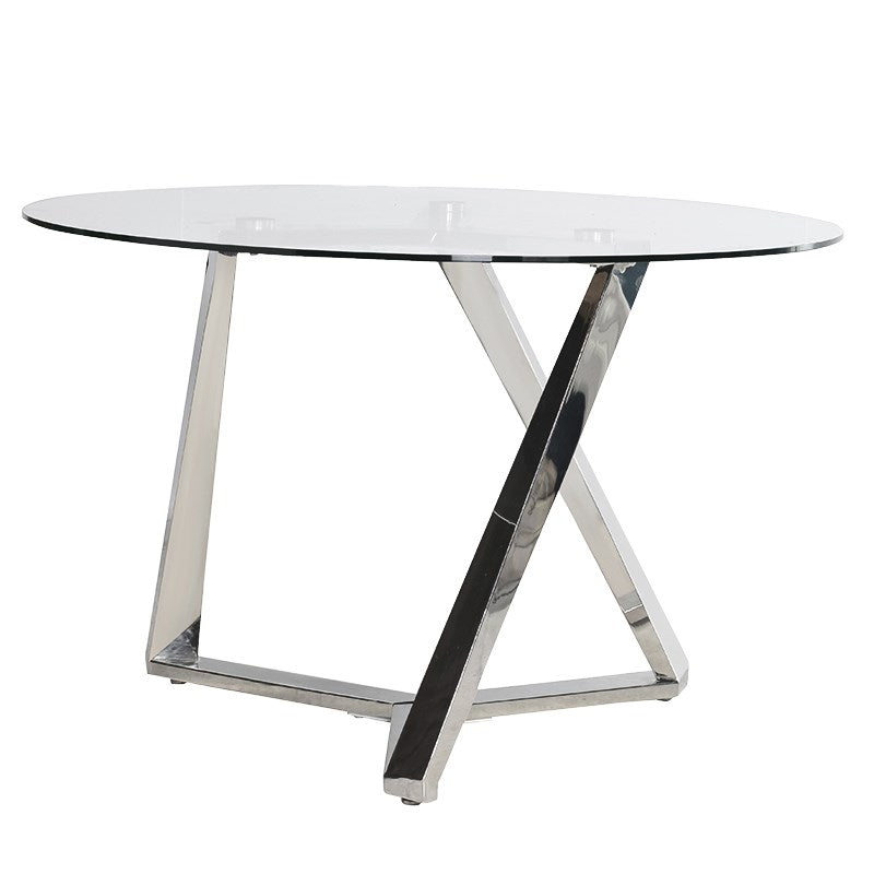 Steel and Glass Geometric Dining Table