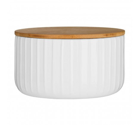 White Ribbed Dolomite Storage Canister