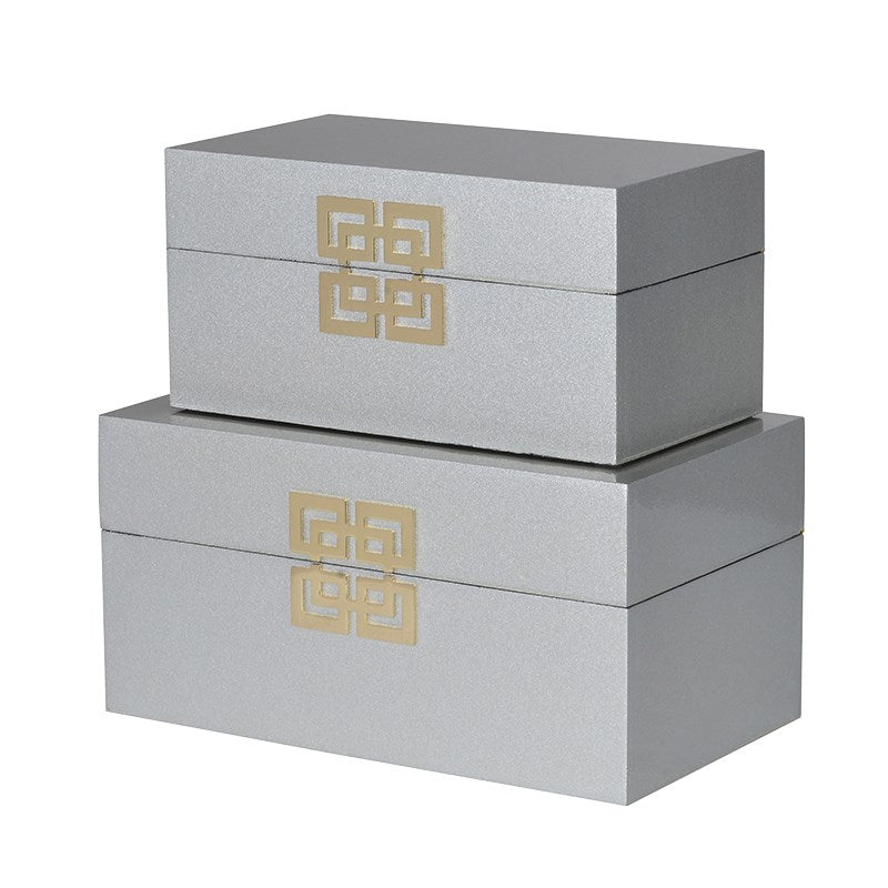 Set Of 2 Silver Oriental Boxes