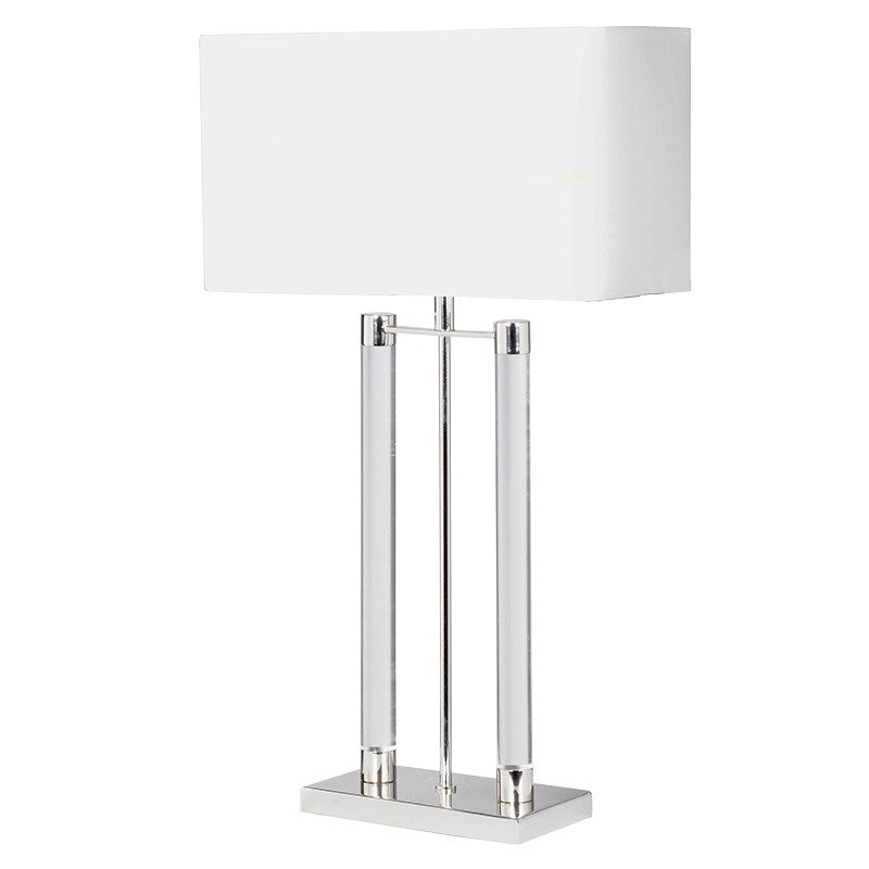 Nova Nickel Table Lamp With White Shade