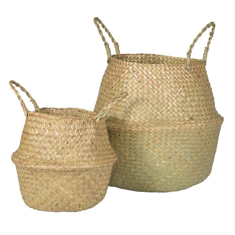 Set Of 2 Natural Grass Baskets