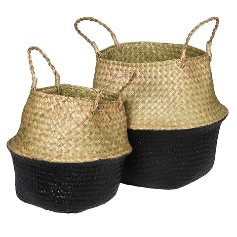 Black And Natural Grass Baskets