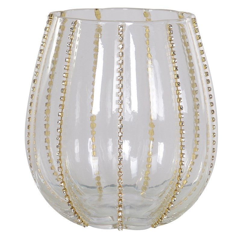 Gold Diamante Stripe T-Light Holder