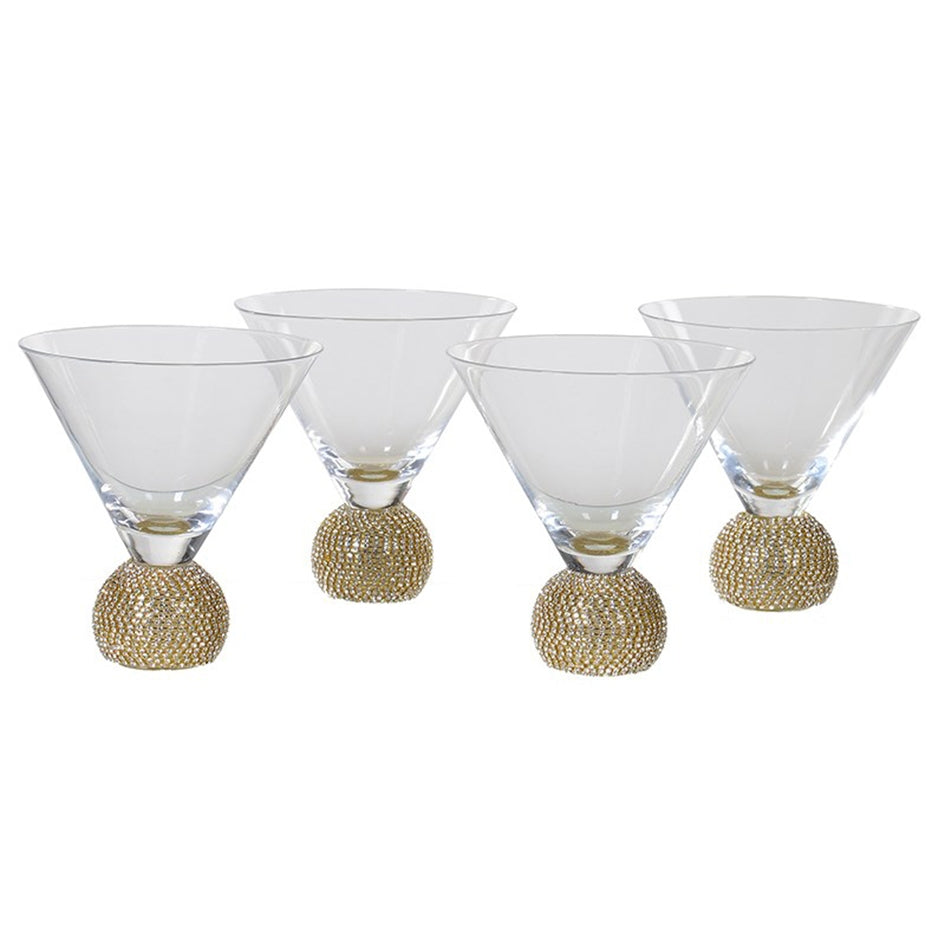 Gold Crystal Short Martini Glasses