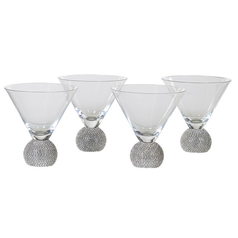 Set Of 4 Silver Short Martini Glasses
