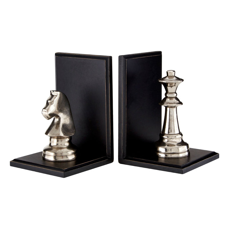 Silver Chess Piece Bookends