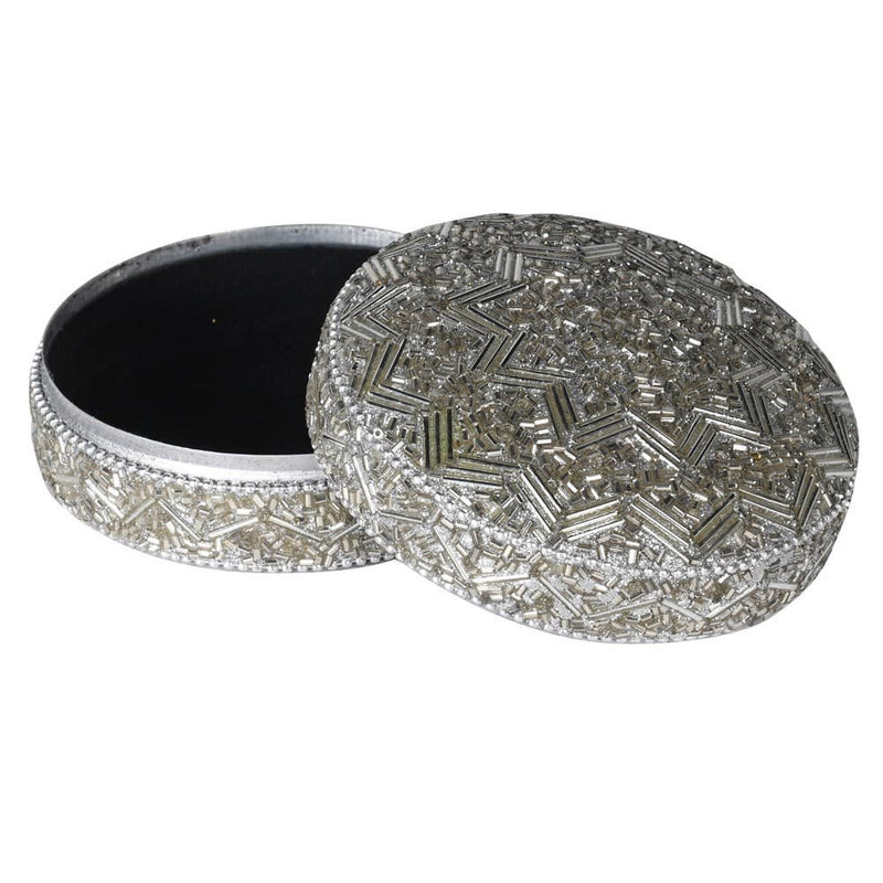 Silver Beaded Round Box