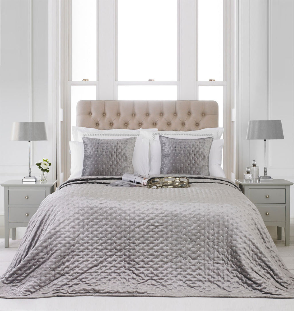 Silver Quilted Bedspread