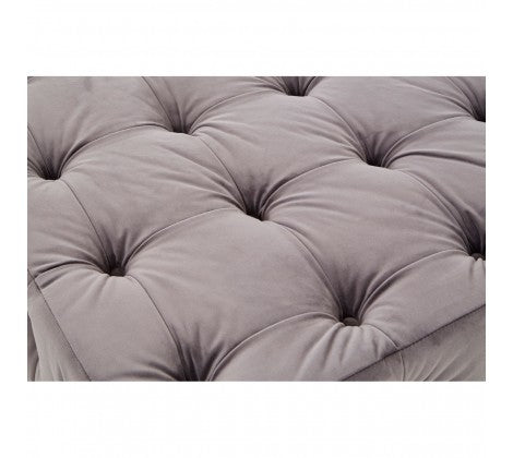 Grey Button Tufted Footstool