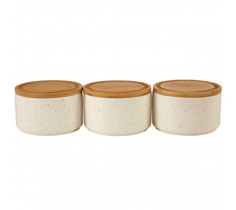 Set of 3 Stackable Spotted Canisters
