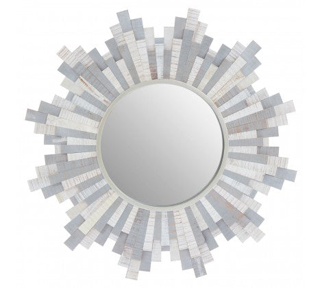 Grey and White Sunburst Mirror