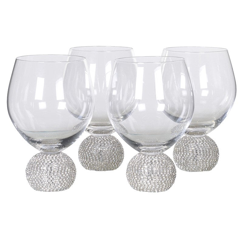 Set Of 4 Silver Crystal Short Wine Glasses