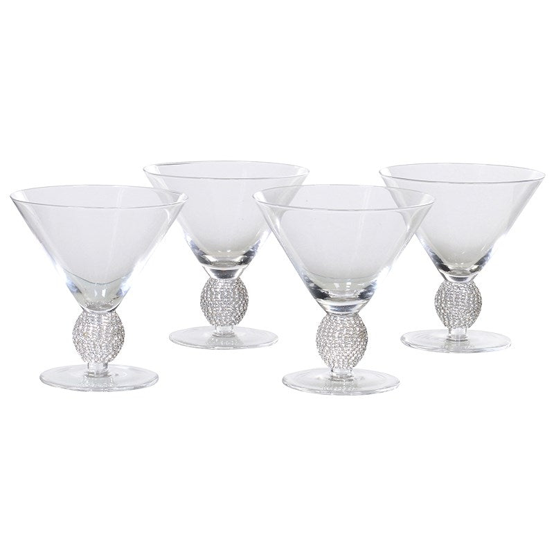 Set Of 4 Silver Crystal Cocktail Glasses