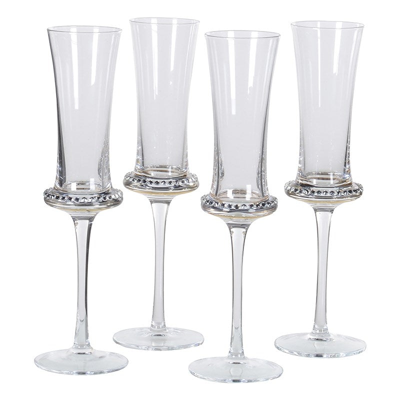 Diamante Glass Champagne Flutes