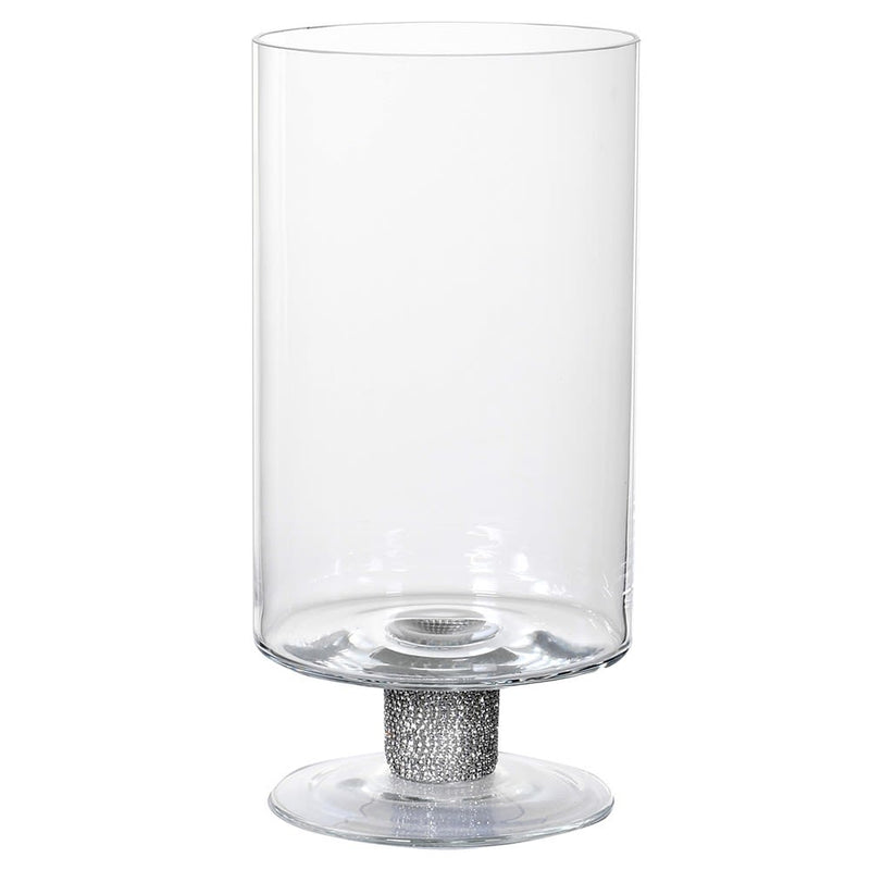Tall Diamante Squat Glass Hurricane