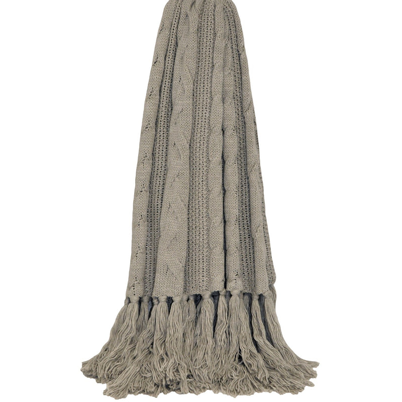 Taupe Plait Knit Throw