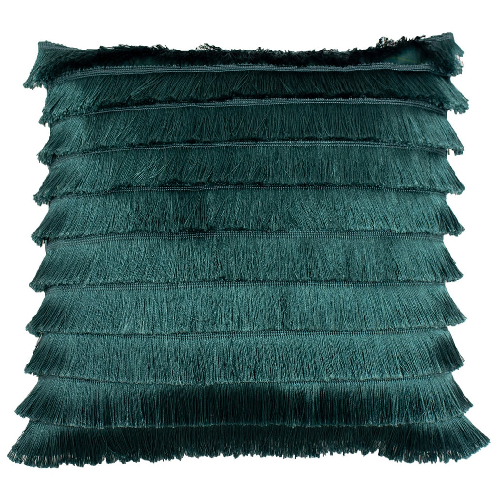 Teal Fringed Cushion Cover