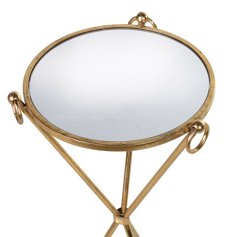 Gold Cross Side Table With Glass Top