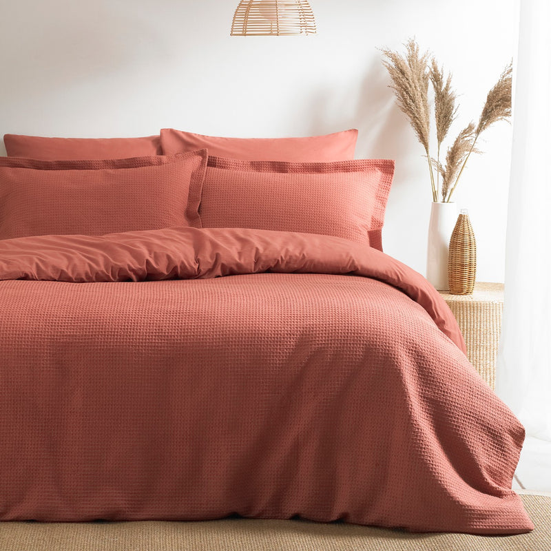 Waffle Red Clay Duvet Set