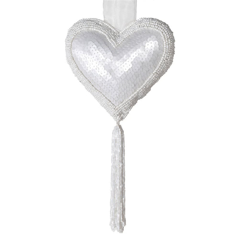 White Beaded Tasseled Heart