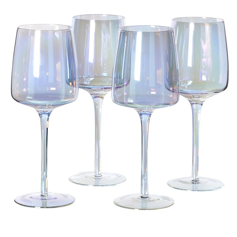 Set of 4 Iridescent White Wine Glasses