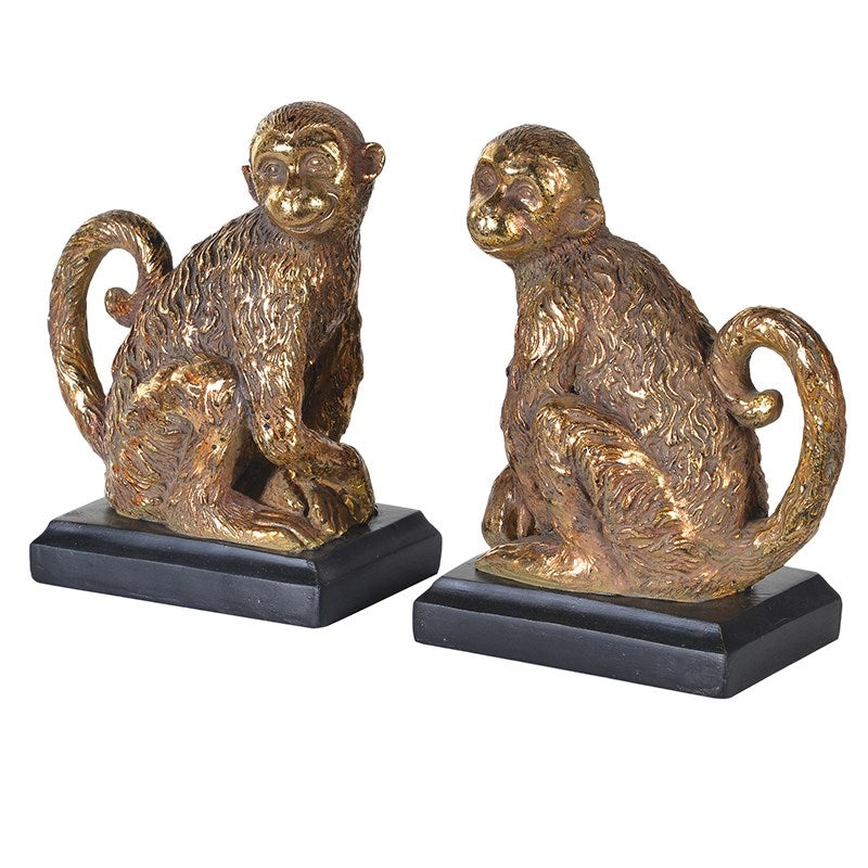 Set Of 2 Gold Monkey Bookends