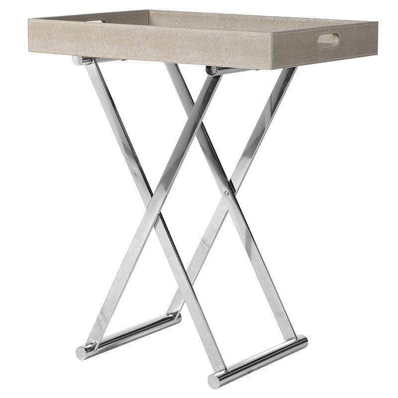 Grey Tray Side Table With Chrome Legs