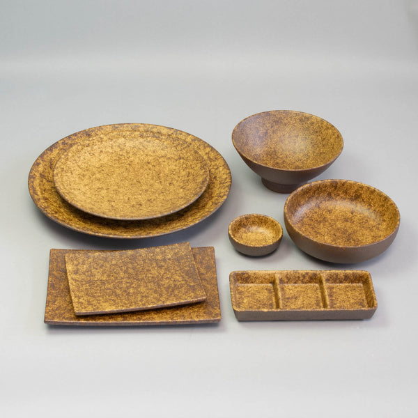 EKI Brown 17.6x7.6cm Triple Sauce Dish