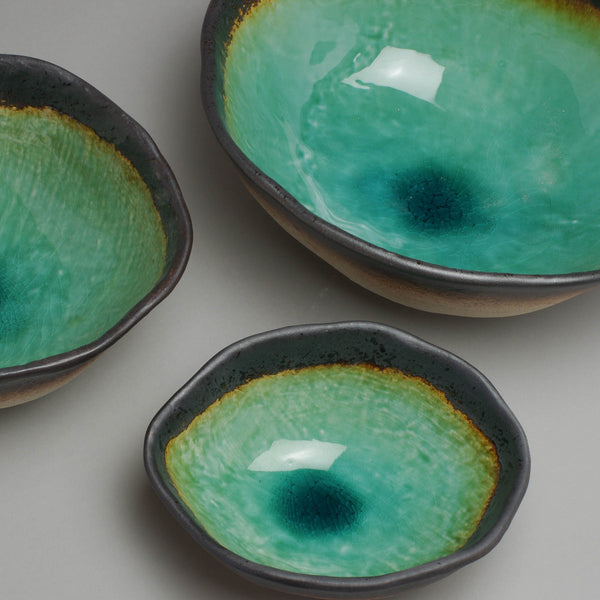 Peacock Green Oval Bowl
