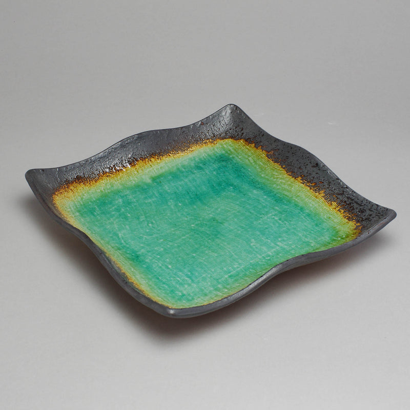 Peacock Green Square Plate